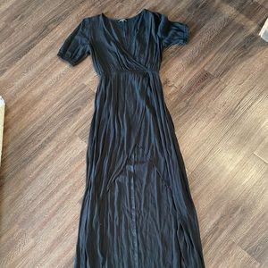 Express Black V-Neck Maxi Wrap Dress